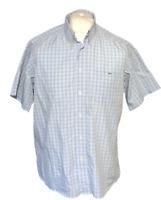 Lacoste Men's Casual Shirt Blue Check Size 40 Large 100% Cotton S/S
