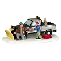 Lemax 2017 Snow Plow Set-Up Vail Village #53224 Father Son Teamwork Snowy Furry