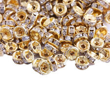 200 Pcs 6mm Gold Plated Crystal Spacers Rondelle Beads Jewelry Findings Charms