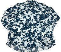 Michael Kors Floral Ink Design Button Down Dress Shirt Slim Fit Men's Size 2XL