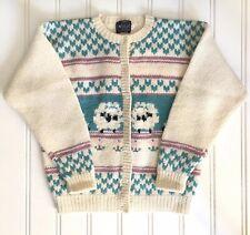 Woolrich Woman Vintage Wool Jacket Cardigan Sheep White Ivory Cream Fair Isle XL