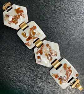 Vintage Artisan Mid Centrury Modern Enamel White Brown Gold Statement Bracelet