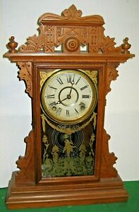 """ANTIQUE 8 DAY E.N. WELCH """"DICKENS"""" MANTEL/ SHELF CHIME CLOCK WORKING FORESTVILLE"""