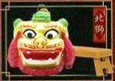 Chinese Traditional Lion Dance Miniature Finger Puppet Green Head Northern Lion