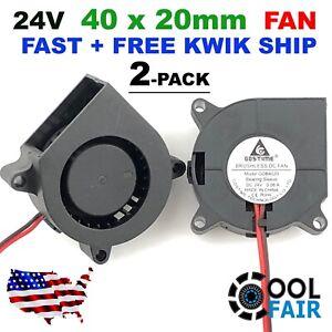 24V 40mm Blower Fan 4020 40mm x 20mm Turbo Cooling 3D Printer Rep Rap 2pin 2 Pcs