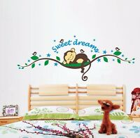MONKEY SWEET DREAMS Kids Nursery Vines Bird Wall Decor Mural Decal Sticker UK