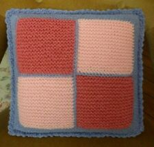 GRANNY SQUARE HAND KNITTED CUSHION CROCHET EDGED PINKS YELLOWS MAUVE REVERSIBLE