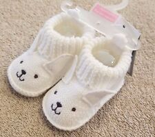 DARLING! NEW JUST ONE YOU BY CARTER'S NEWBORN WHITE KNIT BUNNY SLIPPERS REBORN