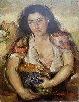 ELZA DRUJA FORSU LATVIAN 1949 PEASANT WOMAN PORTRAIT GRAPE BASKET OIL PAINTING