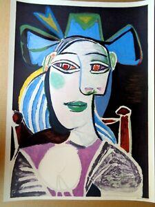 """Pablo Picasso Lithograph """"Buste de Femme au Chapeau Bleu"""" Edition 1000 Ex."""