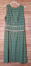 Womens Vintage Dress Green Plaid Handmade 1960's Sleeveless High Neckline
