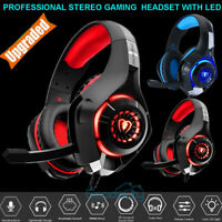 Gaming Headset Mic LED 3.5mm Headphones Stereo Surround for PC PS5 PS4 Xbox ONE
