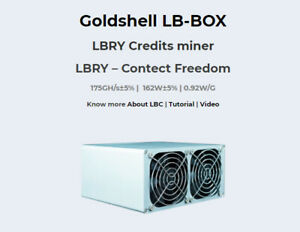 Goldshell LB-BOX LBRY Cryptocurrency Miner With Power Supply Adapter Brand New