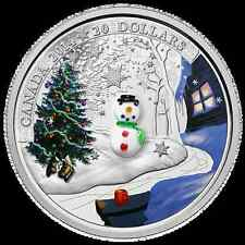 2014 CANADA $20 COLORIZED SNOWMAN - VENETIAN MURANO GLASS- LOW MINTAGE