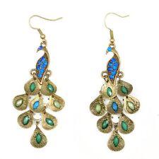 BT Retro Blue Rhinestone Crystal Dangle Prancing Peacock Hook Earrings U8F8