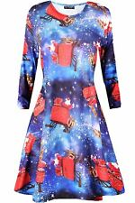 Kids Girls Gingerbread Gift Candy Xmas Flare Franki Reindeer Rudolph Swing Dress