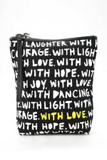 Kate Spade New York x Cleo Wade Womens Phrases Pouch Wristlet Black White Canvas