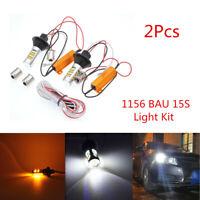 2X 1156 BAU15S Amber-White Switchback LED DRL Turn Signal Light Bulbs &