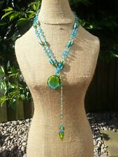 Green and Blue Glass beaded Open Lariat Necklace.