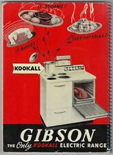 GIBSON The Only Kookall Electric Range STOVE Vintage Manual Recipe Book Cookbook