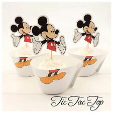 12x Disney Mickey Mouse Cupcake Topper + Wrapper. Party Supplies Lolly Loot Bags