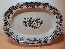 Plat faience Rouen XVIII camaieu bleu décor fleur 18 siecle