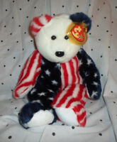 "Ty 1999 Spangle Patriotic Teddy Bear 15"" Plush Soft Toy Stuffed Animal"