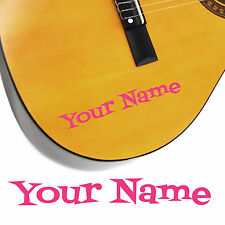 2 x Guitar Name Stickers - Personalised Acoustic Electric - Cartoon Style