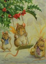 Postcard Art Holly Tree Christmas Mouse Swing Mouse Racey Help