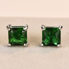 Princess Cut Green Emerald Square Stud Earrings White Gold Wedding Jewelry Gifts