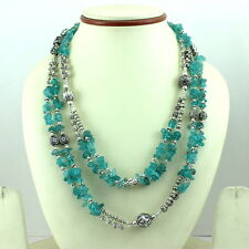 Necklace natural blue apatite chips gemstone beaded handmade long 85 grams