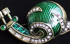 BRONZE CLEAR RHINESTONE GREEN  ENAMEL INSECT BUG CRAWLING SNAIL PIN BROOCH JEWEL
