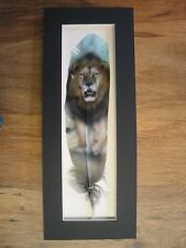 Pacing Lion - Russ Abbott Hand Painted Feather - COMMISSIONED
