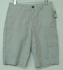 NEW size 6 Merona SHORTS striped periwinkle white cotton contour fit