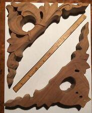 "PAIR Walnut ENKEBOLL Designs Carved Wood Corner Onlay 8 x 8 x 1 1/4"" thick NOS"