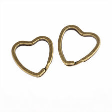 5x New Bronze Tone heart Key Split Rings keychain Keyring 1MM Jewelry Findings