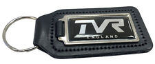 TVR England 45mm Logo Quality Black Leather Keyring