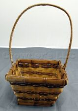 "Small Decorative Home Decor Square Woven Wicker Basket - 10"" Tall x 6"" Wide"