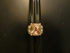 Sterling Silver .925 Hot Pink Clear Rhinestone Cocktail Ring Size 6 1/4