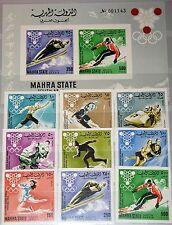 ADEN MAHRA 1967 39-47 B Block 4 B Olympics Olympia 1968 Grenoble Sport MNH