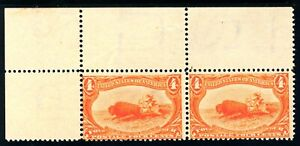 USAstamps Unused FVF US 1898 Trans-Mississippi Pair Hunting Scott 287 OG MNH