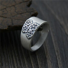 990 Sterling Silver Ring Women Men Special Plum Blossom Band Ring US:7 S990