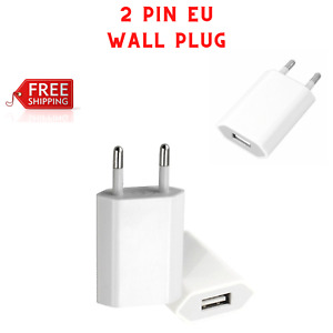 European USB plug Euro Europe EU 2 Pin Fast USB Wall Plug Charger White