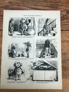 1878 cartoon print. the british working man. our water supply . hermit