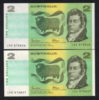 R-89L. (1985) 2 Dollars - Johnston/Fraser.. Last Prefix LQG..  UNC - CONSEC Pair