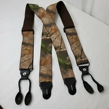 Camouflage Button Suspenders Camo Braces Realtree Hunter Hunting Elastic Leather