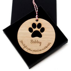 Dog bauble paw print tree decoration Christmas personalised Remembrance