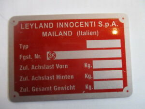 Id Nameplate Leyland Innocenti Milan Shield de Tomaso Mini s60 Red