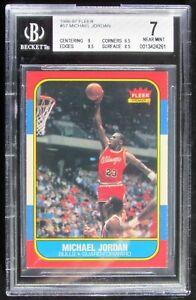 1986-87 MICHAEL JORDAN FLEER RC/ROOKIE CARD #57 BGS 7! SUBS: 9, 8.5, 8.5, 6.5