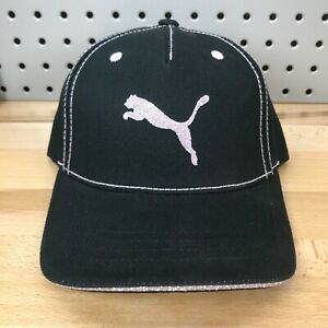 PUMA Logo Black and Pink YOUTH Glitter Hat Adjustable Hook & Loop Closure NWT